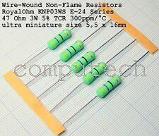5 pezzi Resistenza a filo avvolto 47 Ohm, 47R 3W 5% Royal Ohm KNP03S 300ppm/°C