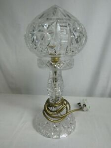 Vintage Cut Crystal Domed Lamp with Gold Accents Working Table Lamp