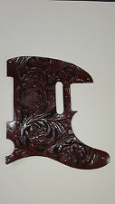 "Leather pick guard Fender Telecaster hand tooled leather ""Floral Riffs"" dark b"
