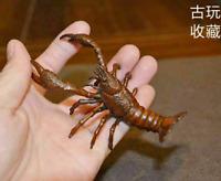 Old Antique Tea Pet Pure Solid Copper Palinuridae lobster Handwork Statue Shrimp