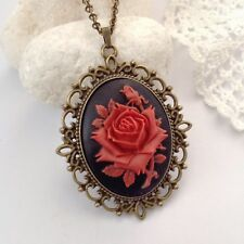 Red rose necklace Cameo jewellery Vintage romantic pendant Victorian jewelery