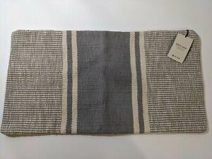 "West Elm Woven Stripe Horizons Pillow Cover 14""x 26"" Light Blue 100% Cotton New"
