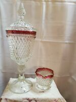Indiana Glass Diamond Point Pedestal Candy Dish Apothecary With Lid