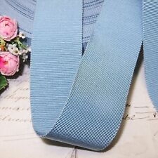 "1y 1.5"" French Light Blue Grosgrain Petersham Ribbon Trim Hat Jacquard Vtg Fedor"