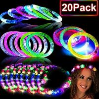 20 PACK Glow in the Dark Party Supplies,10 Glow Bracelet & 10 LED Headbands