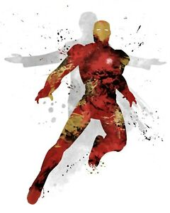 Iron Man Marvel Avengers A3 Digital Watercolour Splash Effect Poster Print