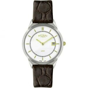 ROTARY ULTRA SLIM MENS WATCH GS08000/02 BROWN LEATHER GENTS STRAP
