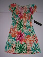 DAISY FUENTES WOMEN'S LEAF SMOCKED EMPIRE TOP BLOUSE SIZE X-SMALL NWT!