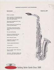 AD SHEET #2513 - 1970s BUESCHER MUSICAL INSTRUMENT - ARISTOCRAT ALTO SAX #1033