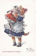 More details for  arthur thiele  dressed girl cat  kisses her  broken doll