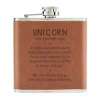 Unicorn Definition 6oz PU Leather Hip Flask Tan - Funny