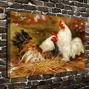 HD Canvas Print Paintings Brooding Hen and Rooster Home Decor Wall Art Pictures