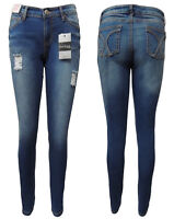 WAKEE BLUE HIGH RISE SKINNY LEG JEANS WITH RIPPED FEATURE