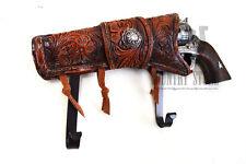 Cowboy Wall Hook Hanger rack Six Shooter Revolver Pistol Gun & Star Western NEW
