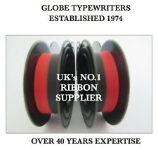 2 x 'OLYMPIA SM4 DELUXE' *BLACK/RED* TOP QUALITY *10 METRE* TYPEWRITER RIBBONS
