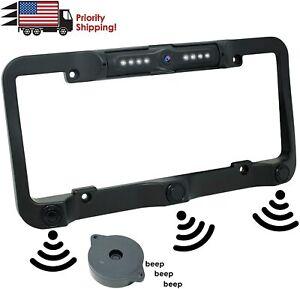 License Plate Waterproof Rear View Reverse Backup Camera Kit + 3 Parking Sensor