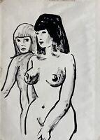 Weibliche Akte Frauen stehend Expressiv 50er Jahre Pin Up Girls 29,5 x 21 cm