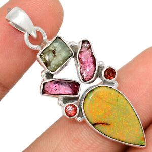 Sterling Opal, Pink Tourmaline & Aquamarine Rough 925 Silver Pendant BP84317