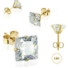 14KT Yellow Gold Earrings Stud 3mm Square Clear CZ