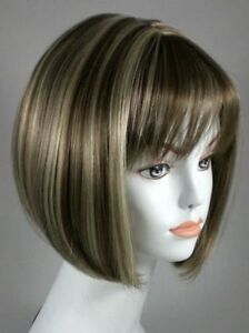 Short Straight Cleopatra Style Chin Length Bob Full Wig w/Bangs Ultra Comfort