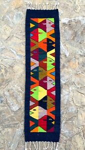 """Zapotec Oaxacan 10""""x39"""" Hand Woven Dark Blue Color Fish Wool Tapestry Rug Runner"""