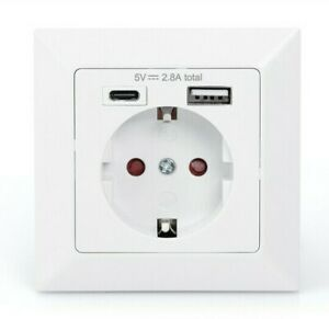 230 V USB Steckdose, Unterputz, USB-C und USB-A Ladegerät 2.8 A, Weiß, System 55