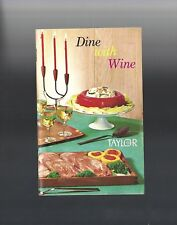 1968 Dine with Wine Taylor Ny Wines food & drink recipes booklet