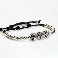 Men And Women Beads Bracelet 3 Balls Inlaid Black Crystal 24k White Gold Plating