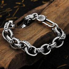 C30 Bracelet Homme Bouddhiste Chaîne D'Ancre Argent 925 Vajra 6-Wort-Mantra