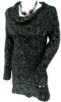 Black White Cable Twist Chunky Knit Cowl Jumper Dress UK 14/16 EU 42/44 US 10/12