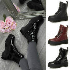 Womens ladies retro classic lace up grunge platform combat ankle boots size