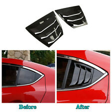 2pcs Shiny Rear Quarter Panel Window Side Louvers Vent For Mazda3 4D 2014-2018*