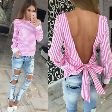 Womens Long Sleeve Open Back Loose Tops Tee Casual Striped Bowknot Shirt Blouse