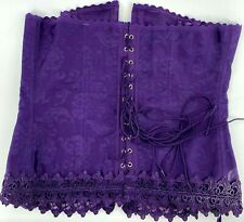 Frederick's of Hollywood Purple Lace Up Brocade Jacquard Satin Corset Size 38