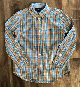 Ralph Lauren Boys Plaid Button Down Shirt Sz 7