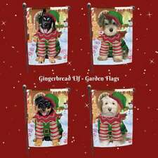 Christmas Gingerbread Elf Dog Cat Pet Photo Lovers Decorative Garden Flag