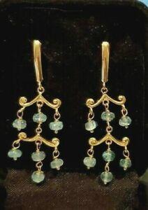 14k Yellow Gold Drop Dangle Chandelier Leverback Earrings 3.65g