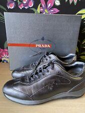 Prada Milano Saffiano Ladies Trainers In Silver / Grey - Size 5/38