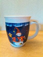 """Royal Norfolk Christmas coffee mug with snowman design, 4"""", 13 oz."""