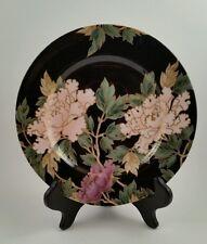 Fitz & Floyd Cloisonne Peony Salad/Desert Plates Black Gold Japan FF75. 10