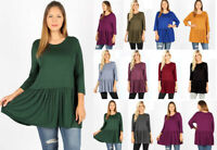 1X-3X Women's Solids Ruffle Hem Soft T-Shirt Long Tunic Top 3/4 Sleeve Basic