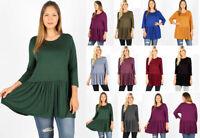 Women's Plus Ruffle Swing Hem Tunic Top Soft Knit Shirt 3/4 Sleeve Loose Flowy