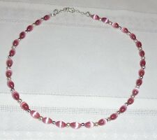 """Cat's Eye PInk Oval Bead Single Strand 15"""" Necklace w/925 Clasp 20 grams"""