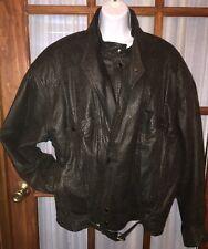 Vintage Women's Black Motorcycle Jacket Pebbled Leather Ground Zero 46 XL