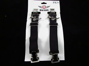 Motorcycle Biker Pants Boot Clips Bungee Adjustable Rose Silver Finish