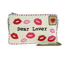 Mary Frances Sealed w A Kiss Lipstick Lips Kisses Beaded Handbag Purse Bag New