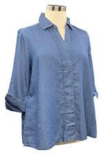 MARTHA STEWART size M cotton/lyocell denim 3/4 sleeve button up shirt
