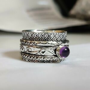 Amethyst Ring Spinner Ring 925 Sterling Silver Plated Handmade Ring Size 10 P581