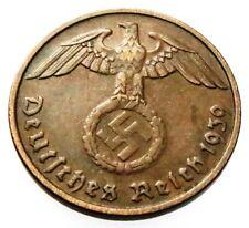 GERMAN WW 2 (Third Reich) original coin 2 Reichspfennig 1939 G