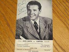 JACK SMITH CAPITAL RECORDS AUTOGRAPGH MARTHA TILTON SIGNED PROMOTION POSTCARD